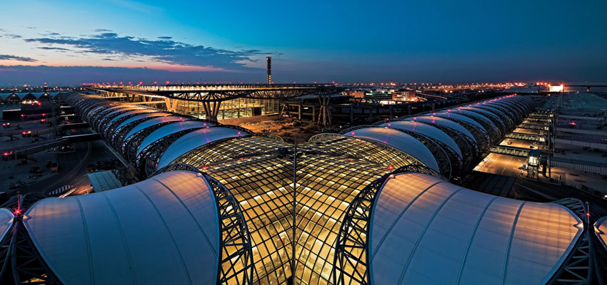 Suvarnabhumi means Golden Land.  Also known as the New Bangkok International Airport, Suvarnabhumi is an international airport serving Bangkok, Thailand.